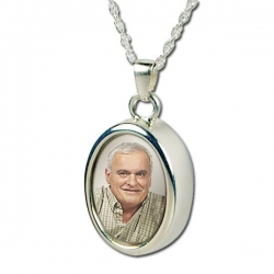 Sterling Silver Oval   Photo  Cremation Pendant