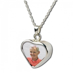 Sterling Silver Heart   Photo  Cremation Pendant
