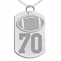Football Dog Tag with Number and Swivel Pendant
