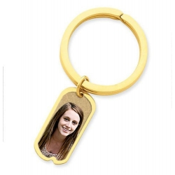 Photo Engraved Dog Tag Key Chain