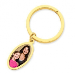 Photo Engraved Oval Key Chain