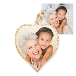 Petite Heart with Diamond Cut Edge Photo Charm For Bracelet