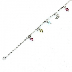 Sterling Silver Adjustable Anklet   Ankle Bracelet Multi Color Beads