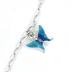 Sterling Silver Adjustable Anklet   Ankle Bracelet Blue Butterfly