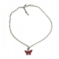 Sterling Silver Adjustable Anklet   Ankle Bracelet Red Butterfly