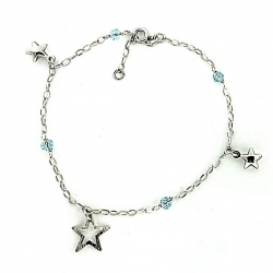 Sterling Silver Adjustable Anklet   Ankle Bracelet Stars   Beads