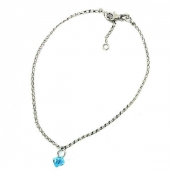 Sterling Silver Adjustable Anklet   Ankle Bracelet Crystal