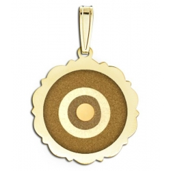 Evil Eye Engraved Scalloped Round Pendant