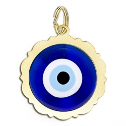 Scalloped Round Evil Eye Color Charm