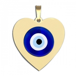 Evil Eye Color Heart Pendant
