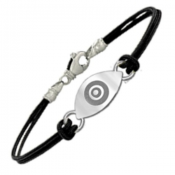 Sterling Silver Evil Eye Engraved  Rope Bracelet