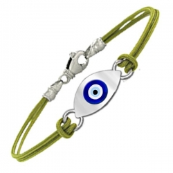 Sterling Silver Evil Eye Color  Rope Bracelet