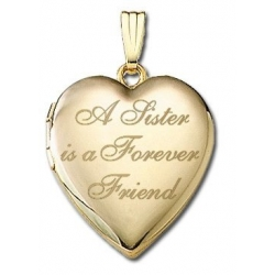 Solid 14K Yellow Gold  A Sister is a Forever Friend  Locket