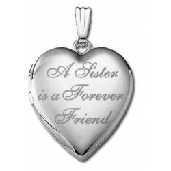 14k White Gold   A Sister is a Forever Friend    Hearts Locket