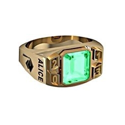 Women s Round Square Emerald with Year Class Ring