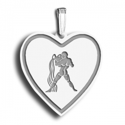 Aquarius Symbol Heart Charm or Pendant