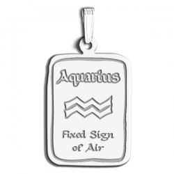 Aquarius Symbol Rectangle Charm or Pendant