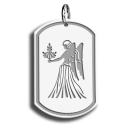 Virgo Symbol Dog Tag Pendant