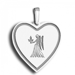 Virgo Symbol Heart Charm or Pendant