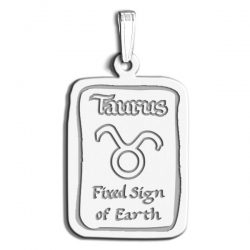 Taurus Symbol Rectangle Charm or Pendant