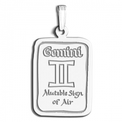 Gemini Symbol Rectangle Charm or Pendant