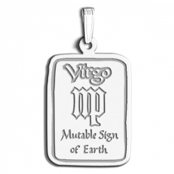 Virgo Symbol Rectangle Charm or Pendant