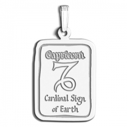 Capricorn Symbol Rectangle Charm or Pendant