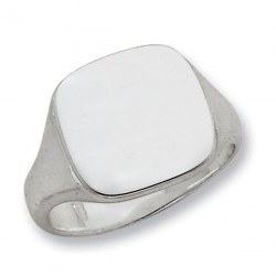 Sterling Silver Rounded Square Solid Back Signet Ring