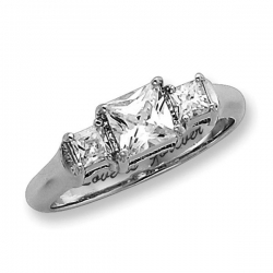 Sterling Silver Three Stone Princess Cubic Zirconia Promise Ring