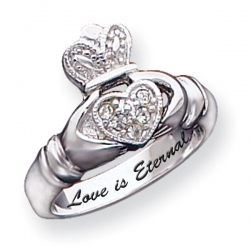 sterling silver claddagh cubic zirconia promise ring pg79655