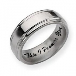 Titanium Grooved Edge 8mm Polished Men s Promise Ring