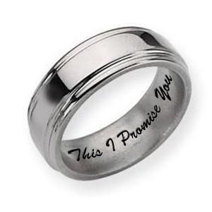 Titanium Grooved Edge 8mm Polished Men S Promise Ring