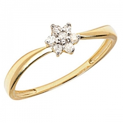 14K Gold Diamond Swirl Cluster Promise Ring