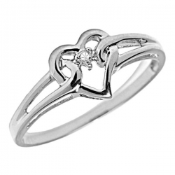 14K Gold Diamond Heart Promise Ring