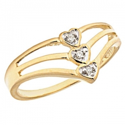 14K Gold Triple Diamond Heart Promise Ring