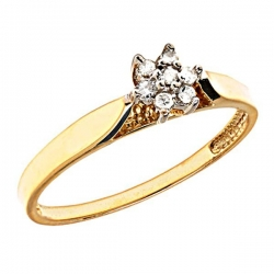 14K Gold Cluster Diamond Promise Ring