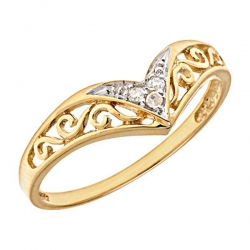 14K Gold Chevron Diamond Promise Ring