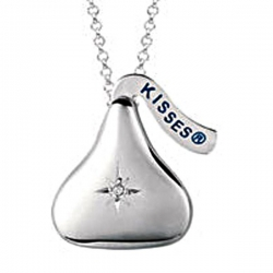 Sterling Silver Officially Licensed Hershey s Kiss Dia Locket w  Chain