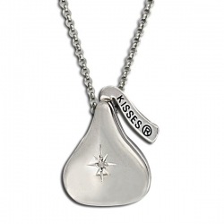 Sterling Silver Officially Licensed Hershey s Kiss CZ Locket w  Chain