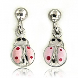 Sterling Silver Enamel   Pink Ladybug   Earrings