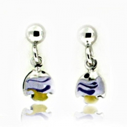 Sterling Silver Enamel   Fish   Dangle Post Earrings