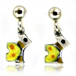 Sterling Silver Enamel   Scottish Terrier   Dangle Post Earrings
