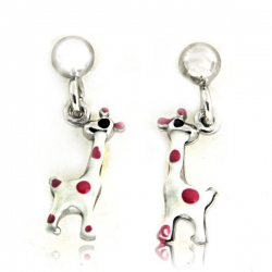 Sterling Silver Enamel   Giraffe   Dangle Post Earrings