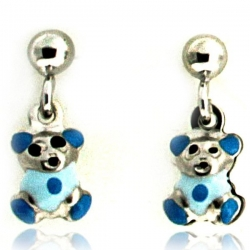 Sterling Silver Enamel   Blue Teddy Bear   Dangle Post Earrings