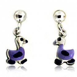 Sterling Silver Enamel   Duckling   Dangle Post Earrings