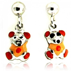 Sterling Silver Enamel   Orange Teddy Bear   Dangle Post Earrings