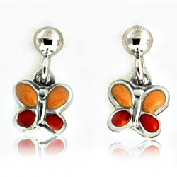 Sterling Silver Enamel  Butterfly  Dangle Post Earrings