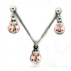 Sterling Silver  Pink Ladybug  Necklace and Earrings with Enamel Set