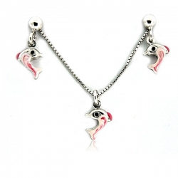 Sterling Silver  Dolphin  Necklace and Earrings with Enamel Set