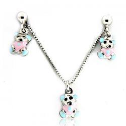 Sterling Silver  Teddy Bear  Necklace and Earrings with Enamel Set